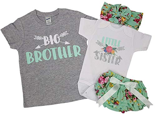 Big Brother and Little Sister - Big Brother Shirt Size 3T, Little Sister Outfit Size 0-3 Months