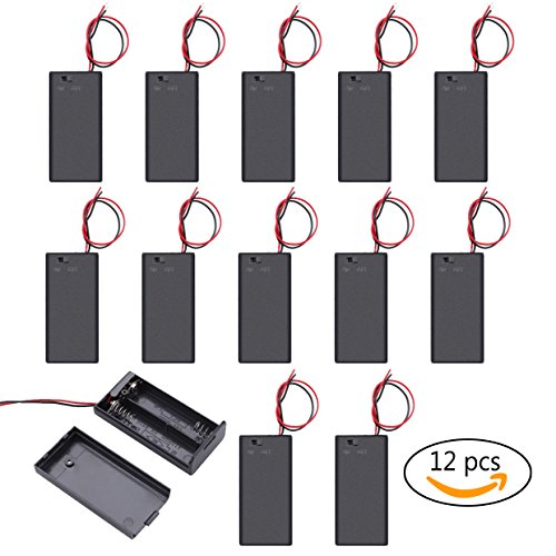 Balpha 12pcs/1 Donzen 2X 1.5V AA Battery Holder Case Box with Cover & with ON/Off Switch Wires Leads(12x 2aa)