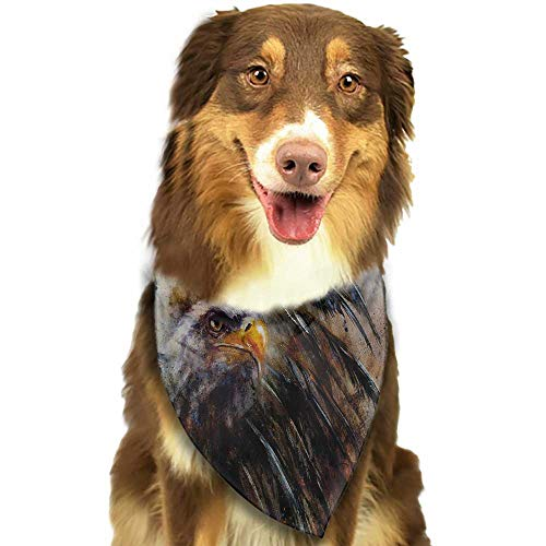 Dog Bandana Eagle Painting Style Bird with Black Feathers on Abstract Backdrop Symbol of USA W27.5 xL12 Scarf for Small and Medium Dogs and Cats ()