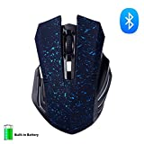 KINGCOO Bluetooth Mouse, Wireless Silent and Rechargeable Noiseless Plus Large Gaming Mouse with 6 buttons,3 adjustable DPI for Laptop,Macbook 2017 and Android OS Tablet (Snow Blue)