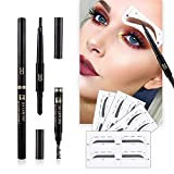 Eyebrow Stencils SET with 16 Unique Eyebrows Shape Stickers Reusable for Women. Also 3-in-1 Black Eyebrow Pencil that includes Powder & Brush. Easy Eyebrow Grooming & Styling