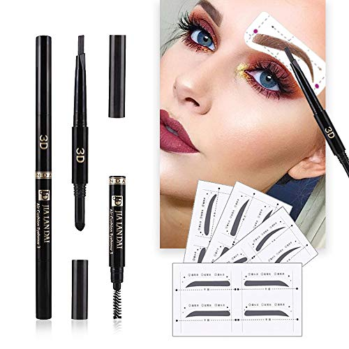 - Eyebrow Stencils SET with 8 Unique Eyebrows Shape Stickers Reusable for Women. Also 3-in-1 Black Eyebrow Pencil that includes Powder & Brush. Easy Eyebrow Grooming & Styling