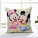 AM 2 Pc Kids Pink Blue Mickey Mouse Throw Pillow Case Set, White Walt Baby Minnie Cushion Cover Bow Rattle Star Heart Bird Animal Cute TV Children Cartoon, Linen
