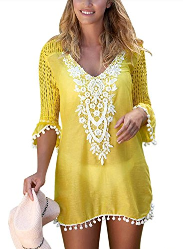 FZ FANTASTIC ZONE Women's Crochet Chiffon Tassel Pom Pom Trim Swimsuit Bikini Swimwear Beach Bathing Suit Cover up Yellow
