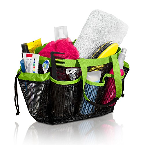 (Simply Things Heavy Duty Mesh Shower Caddy Tote with 9 Storage Compartments and 2 Strong Durable Handles, This Mesh Shower Caddy is Perfect for Dorm, Gym, Camping, Beach, Spa and Travel (Lime) )