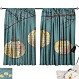 Beihai1Sun Lantern Modes Darkening Curtains Three Paper Lanterns Hanging on Branches Lighting Fixture Source Lamp Boho Curtain Panels Teal Pale Yellow W84 x L72