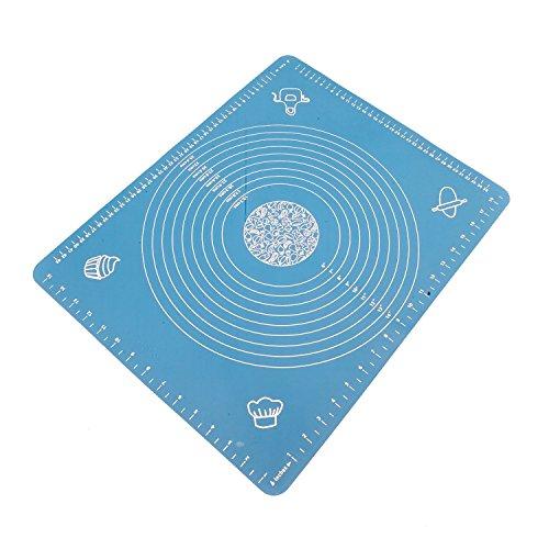 Anokay Fondant Arbeitsmatte Silikon / Teigmatte / Hitzbeständige Backmatte für Fondant/ Ausrollmatte Silikon Groß Ausrollen Tortendeko Ausstecher Ausstechform Modellierwerkzeug mit Maßeinheiten 50x40 CM ( Blau )
