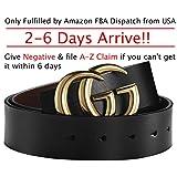 """Fashion G Style Gold Buckle Unisex Belt For Men Or Women [3.8cm Belt Width] (100cm (Waist 29""""~35"""" Or Below), Black) by Amone Ling"""