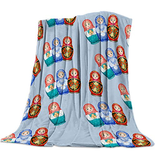 DOME-SPACE Russian Matryoshka Dolls Pattern Flannel Throw Blanket 59x79inch Lightweight Plush Microfiber Fleece Comfy Gift Blankets for Chair Bed Couch ()