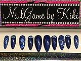 Blue and Blue Glitter Hand Designed Nails Fake Nails Blue Nails False Nails Custom Nails Designed Nails Handmade