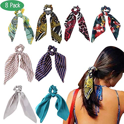 Hair scarf scrunchies, WEST BAY 8Pcs Silk Scrunchies with Bow for Women Girls 2 In 1 Vintage Soft Satin Bowknot Hair Bands Elastic Ties Chiffon Solid Floral Striped Printed Scrunchies Ponytail Holder