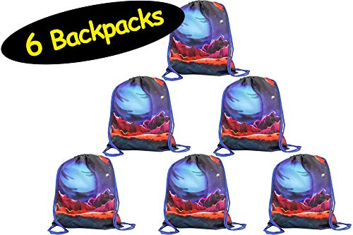 (Space Party Favor Drawstring BACKPACKS - not a pouch // Science Party Favors Galaxy Party Bags // Space Goodie Gift Bags Sleepover Birthday Classroom Sports, 6 Pack, 12