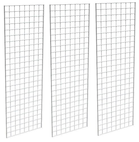 (Only Garment Racks #1900W (Box of 3) Grid Panel for Retail Display - Perfect Metal Grid for Any Retail Display, 2'x 6', 3 Grids Per Carton (White Finish))
