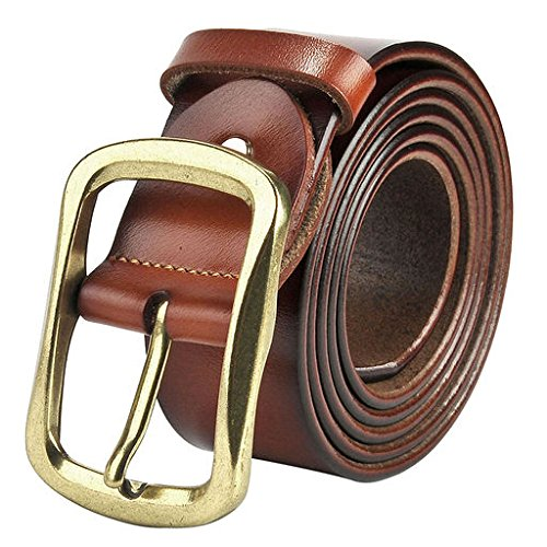 Ayliss Men's Soft Genuine Leather Casual Metal Buckle Belt,Trim to Fit,Light Coffee with Gold ()