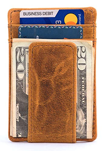 Full-Grain Leather Money Clip Wallet for Men | No Fold Card Travel Wallet