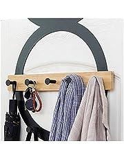 Modern Coat Rack Door Hooks, Stainless Steel Door Hangers,Over Door Rack for Hanging Coats Clothes Hats Robes Black 6hooks for Clothes, Hats, Robes, Towels