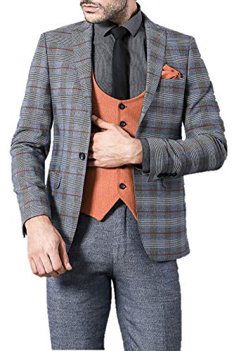 Piece Fit Suit Grey amp; Match Orange Men's Slim Check Andrew Mix 3 wICcqEWn6