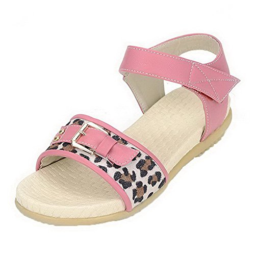 AalarDom Womens Open-Toe Kitten-Heels PU Solid Sandals Pink