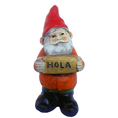 FunnyGnomes 6.5 Inch Hola Mexican Garden Gnome Cement Figure : Garden & Outdoor