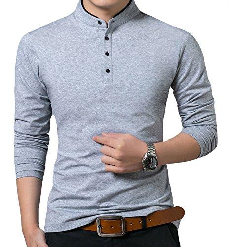 KUYIGO Men's Casual Slim Fit Shirts Long Sleeve Polo Shirts Cotton Shirts