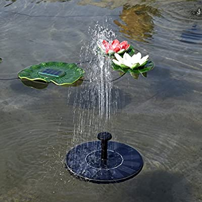Solar Water Pump Outdoor Solar Powered Water Pump Solar Water Floating Fountain Pump Solar Submersible Water Pump 1.4W Solar Panel with Different Spay Heads for Pond, Pool and Garden Decoration