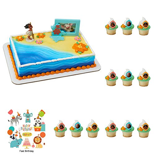 Disney Moana Complete Cake Cupcake Rings Decoration Set (1 Cake Topper, 12 Cupcake Rings) Birthday Party Supplies - Moana Frame