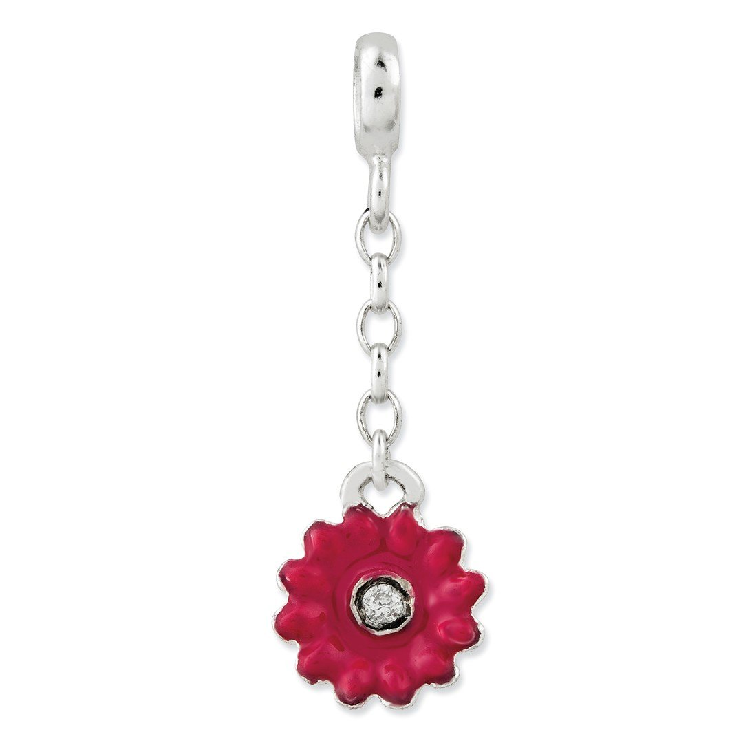 ICE CARATS 925 Sterling Silver Pink Enamel Flower Cubic Zirconia Cz 1/2in Dangle Enhancer Necklace Pendant Charm Gardening Fine Jewelry Ideal Gifts For Women Gift Set From Heart