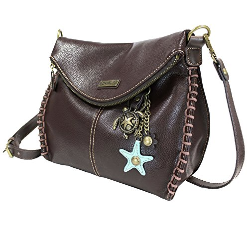 Chala Charming Crossbody Bag with Zipper Flap Top and Metal Chain - Dark Brown - - Medium Handbag Flap