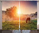 Ambesonne Farmhouse Decor Collection, Arabian Horses Grazing on Pasture at Sundown in Sunbeams Carpathians Ukraine Europe Image, Living Room Bedroom Curtain 2 Panels Set, 108 X 90 Inches, Green