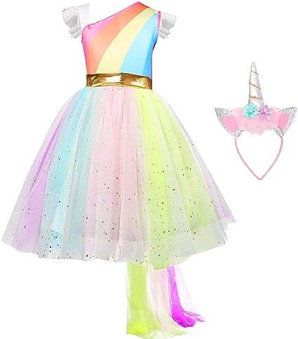 Amazon.com: QSEFT - Vestido de tutú para niñas con arco iris ...