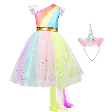 d498d28b175c Image Unavailable. Image not available for. Color: QSEFT Children Girls  Tutu Dress Rainbow Princess Kids Birthday Party Dress Girls Christmas  Halloween ...