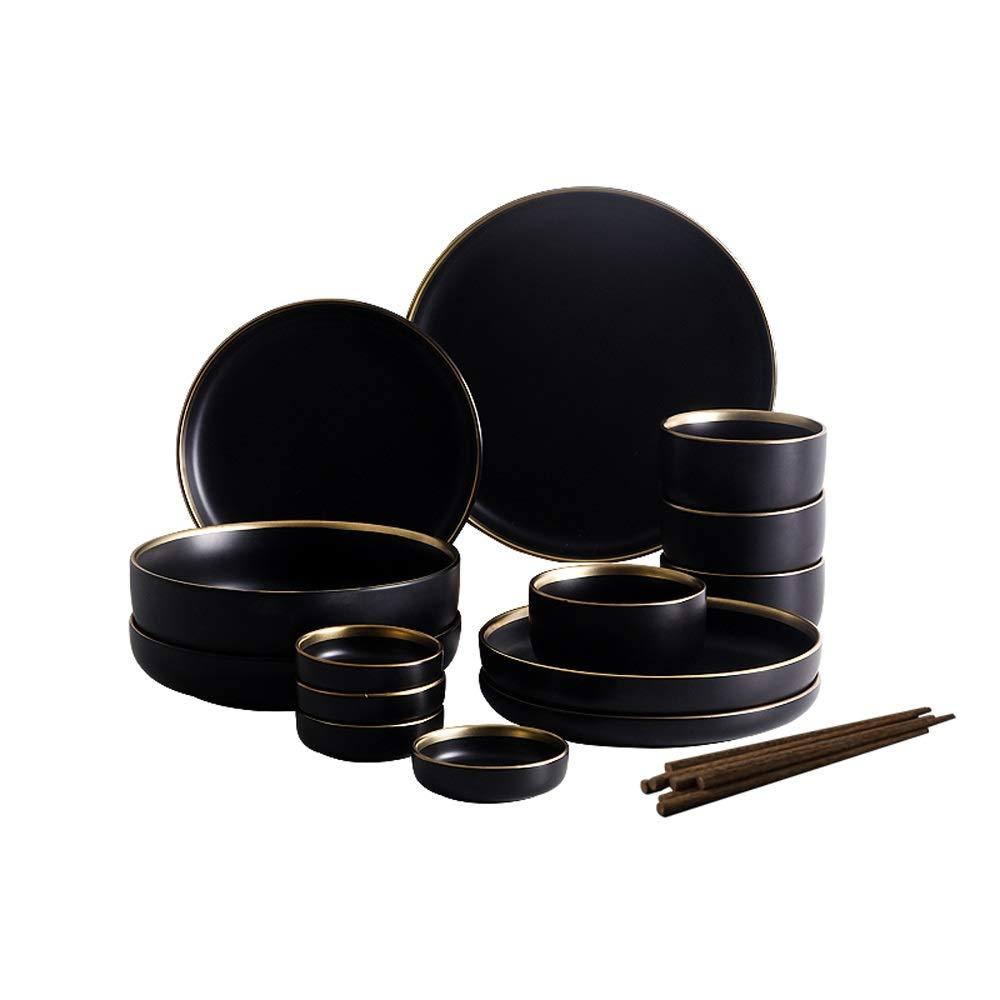 Rui Peng 北欧クリエイティブプノンペンセラミック食器西洋料理ライスボウルサラダボウルステーキプレート - 2色、2セット (色 : ブラック, サイズ さいず : 4-person suit) 4-person suit ブラック B07PZW9XT7
