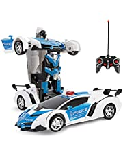 ZeroPlusOne® RC Car for Kids, 1:18 Transform Car Robot, 2.4GHz Rechargeable 360°Rotating Drifting Realistic Engine Sounds Remote Control Toy Car, Best Kids and Adults (Police car)