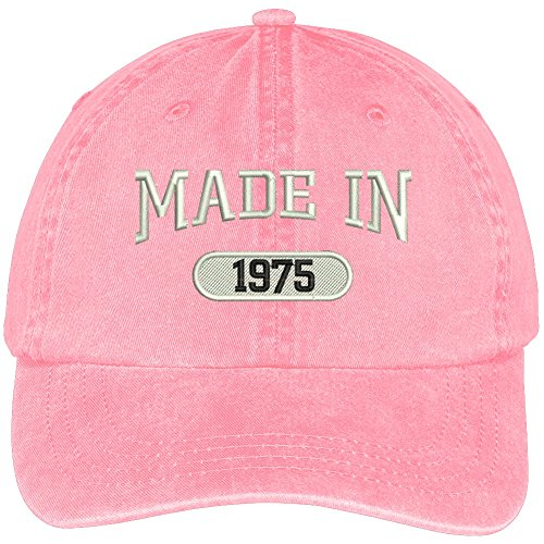 Trendy Apparel Shop 43th Birthday - Made In 1975 Embroidered Low Profile Washed Cotton Baseball Cap - (1975 Hat)