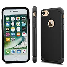 iPhone 7 Case, Asstar iPhone 7 (4.7 inch) Slim Hard Hybrid Bumper Case Shock Absorbing Hard PC Shell + TPU Rubber Strength Resistant Protective Case for Apple iPhone 7 (Black)