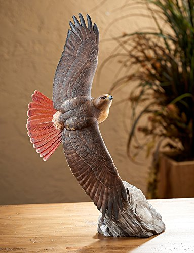 (Wild Wings Soaring Red-tailed Hawk Sculpture by Phil Galatas, brown, orange)