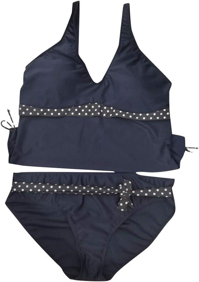 Women Two Piece Bathing Suit V Tank Top Side Tie Cheeky Swimwear Dot Bikini Set