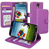 Evecase Leather Wallet Case with Stand and Credit Card Holder for Samsung Galaxy S IV / S 4 GT-I9500 Android Smartphone (Purple), Best Gadgets