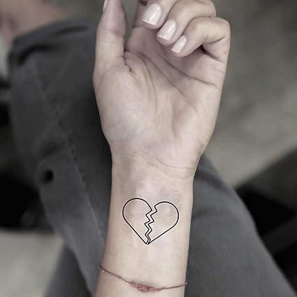 Coeur brisé autocollant de faux tatouage temporaire (Lot de 2) , www.ohmytat