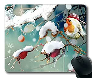 Sweet Winter Bird Masterpiece Limited Design Oblong Mouse Pad by Cases & Mousepads by icecream design