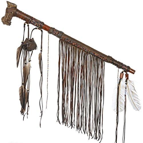 Indian Smokable Peace Pipe Deer Antler Bowl and Medicine Bag ()