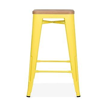 xavier pauchard tolix style metal stool natural wood seat yellow