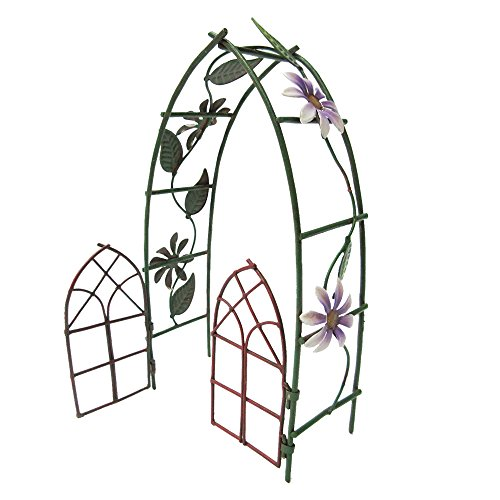 Pacific Giftware Enchanted Mini Fairy Garden Accessories Decorative Metal Garden Arbor Gate Arch Shape with Floral Design 6.5 inch Tall ()