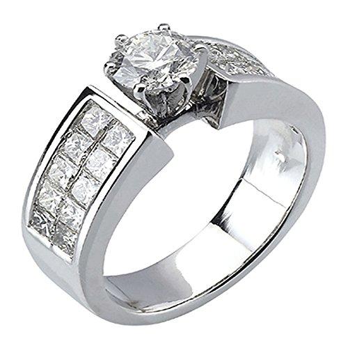 1.50 Carat (ctw) 14K White Gold Princess Cut Diamond Semi Mount Engagement Ring 1 1/2 CT
