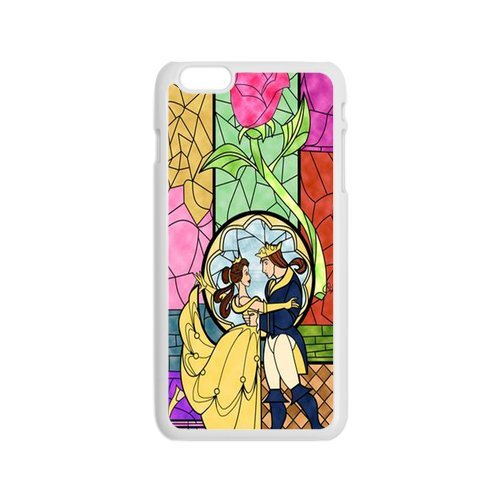 Generic iPhone6s 4.7 Romantic Beauty And The Beast Design White Case Cover for iPhone6s (Cute Coiples)