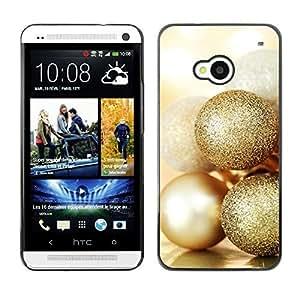 YOYO Slim PC / Aluminium Case Cover Armor Shell Portection //Christmas Holiday Gold Balls 1113 //HTC One M7