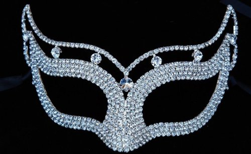 Mysterious White Laser Cut Venetian Crown Design Masquerade Mask for Mardi Gras Or Halloween - Decorated with Sparkling Gem - Crown Venetian
