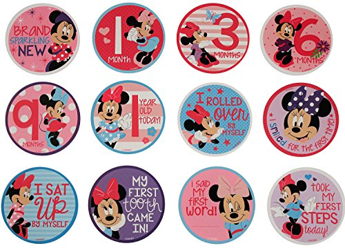 Disney Baby Girls Character Gift Set, Minnie Mouse Milestone Stickers, Onesie Packaging, No No Size -