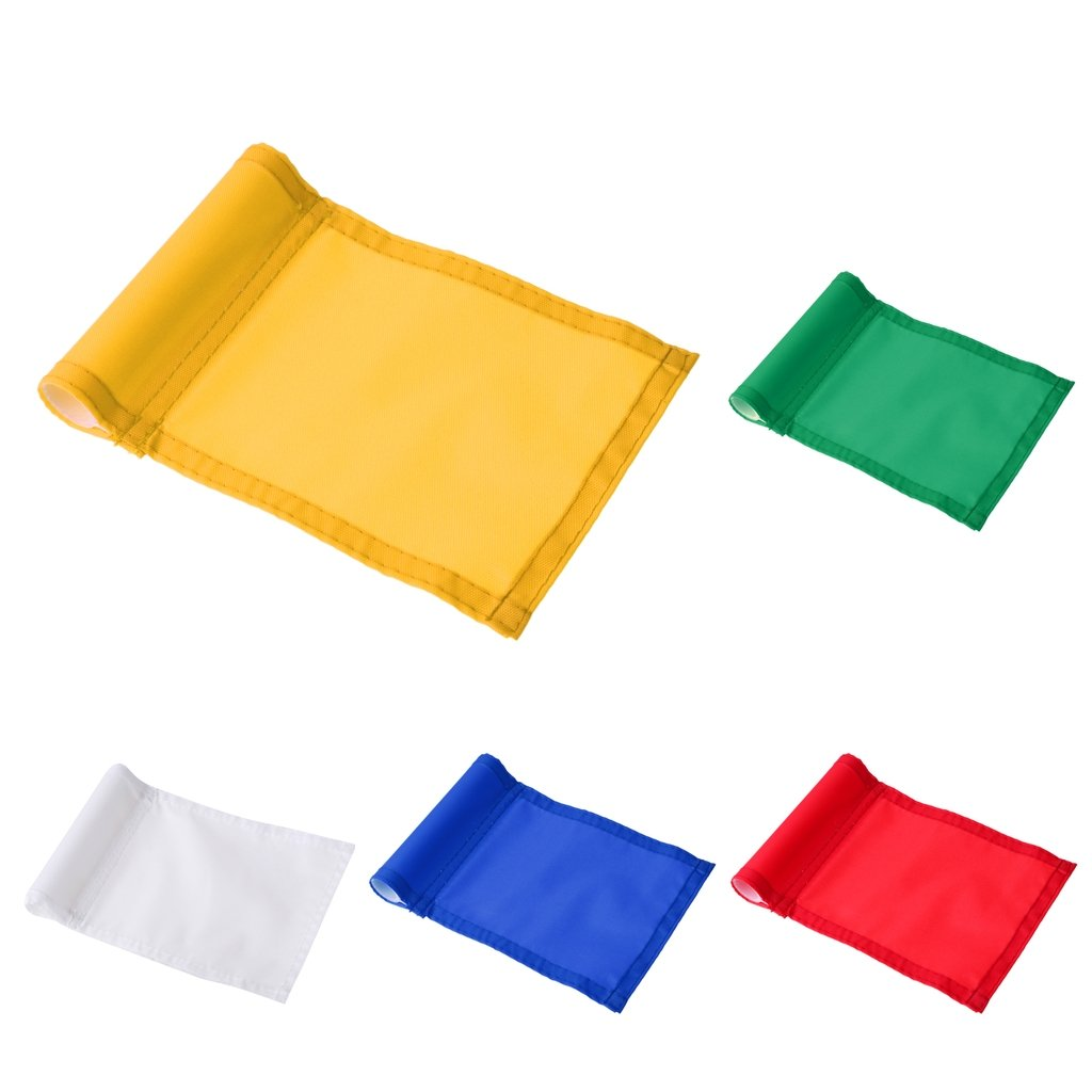 Baosity 5Pcs Durable Nylon Golf Flag Professional Golf Practice Training Putting Green Flag Banner Pennant - Red/Yellow/White/Blue/Green