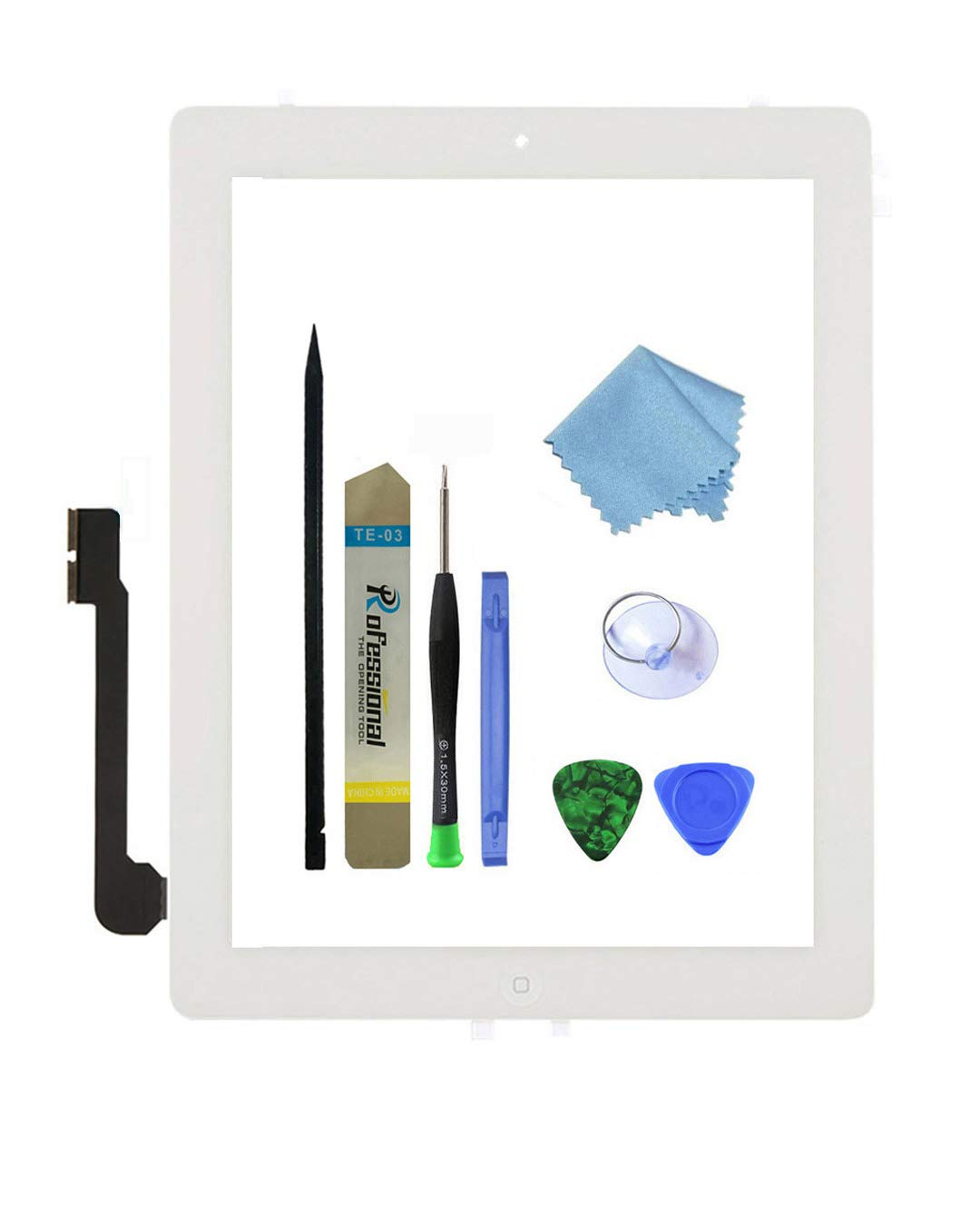 Zentop Touch Screen Digitizer replacement Assembly for White iPad 3 Model A1403, A1416, A1430 whit Home Button, Camera Holder ,Preinstalled Adhesive,Frame Bezel, tool Kit.
